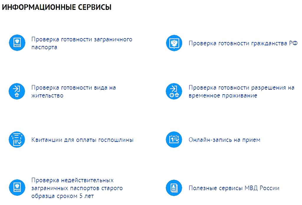 услуги, предоставляемые УФМС